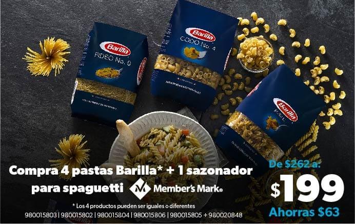 4 Pastas Barilla + 1 sazonador