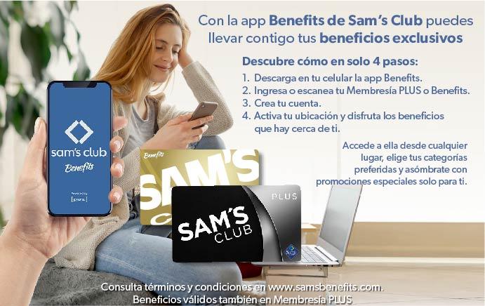 Con la app Benefits de Sam's Club puedes llevar contigo tus beneficios exclusivos